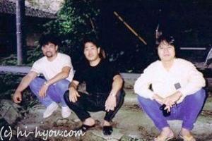 92年初夏、左から、桑江良美(みーちゅ)、林賢、よし坊。石川あたりをドライブしたときのスナップ。