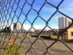 【写真1】矢部駅前側のゲート(チェックポイント)