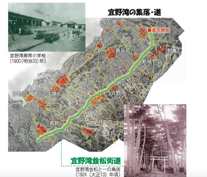 宜野湾の文化財分布図(現在の宜野湾の地図 出典:宜野湾市ホームページ)