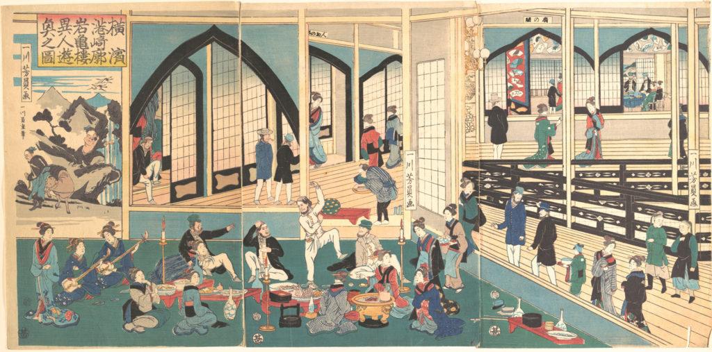 横浜港崎郭岩亀楼に遊ぶ外国人