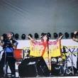 1991年オリオンビアフェスト(那覇・奥武山公園)。左から藤木、上原知子、よし坊。